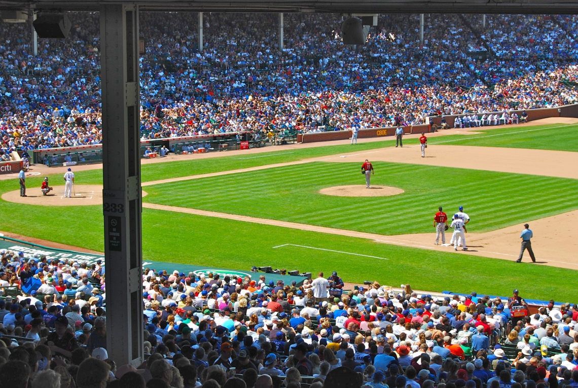 Wrigley Field, baseball stadium on a busy weekday afternoon in July