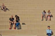 People sitting at Getty Museum's amphitheater