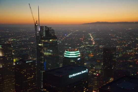 View from US Bank tower at downtown Los Angeles, looking West, OUE Skyspace